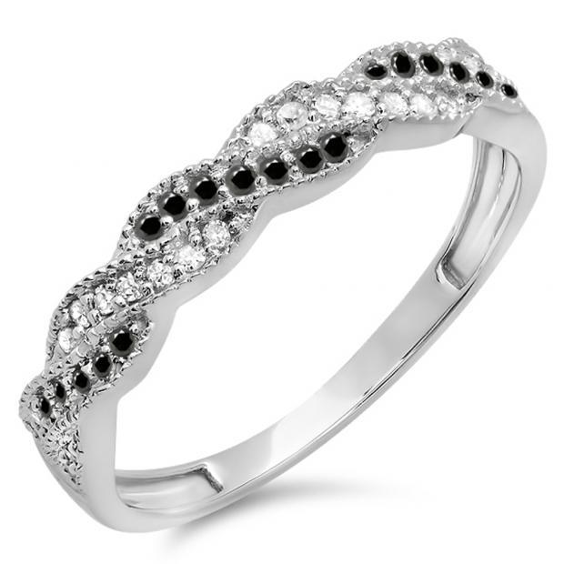 0.25 Carat (ctw) 14k White Gold Round White & Black Diamond Ladies Anniversary Wedding Stackable Band Swirl Ring 1/4 CT