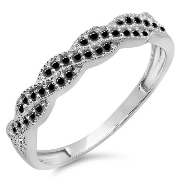 0.25 Carat (ctw) 18k White Gold Round Black Diamond Ladies Anniversary Wedding Stackable Band Swirl Ring 1/4 CT