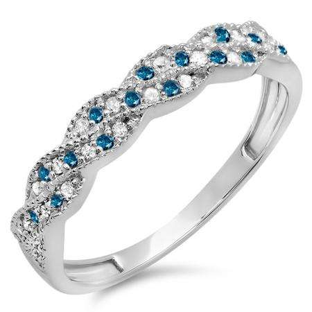 0.25 Carat (ctw) 18k White Gold Round White & Blue Diamond Ladies Anniversary Wedding Stackable Band Swirl Ring 1/4 CT