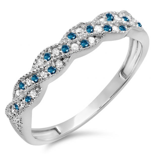 0.25 Carat (ctw) 14k White Gold Round White & Blue Diamond Ladies Anniversary Wedding Stackable Band Swirl Ring 1/4 CT