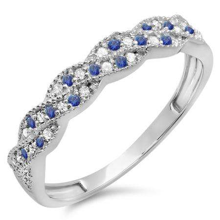 0.25 Carat (ctw) 14k White Gold Round White Diamond & Blue Sapphire Ladies Anniversary Wedding Stackable Band Swirl Ring 1/4 CT