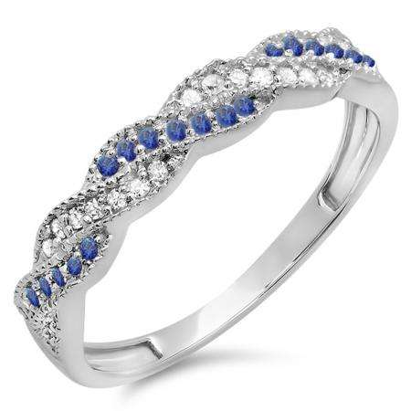 0.25 Carat (ctw) 18k White Gold Round White Diamond & Blue Sapphire Ladies Anniversary Wedding Stackable Band Swirl Ring 1/4 CT