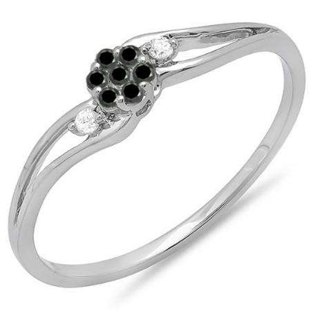 0.10 Carat (ctw) 10k White Gold Round White & Black Diamond Ladies Bridal Swirl Split Shank Cluster Promise Ring 1/10 CT