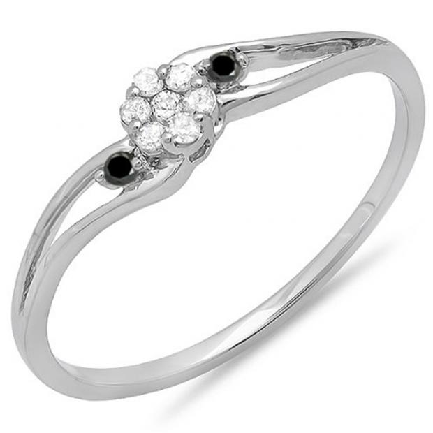 0.10 Carat (ctw) 18k White Gold Round White & Black Diamond Ladies Bridal Swirl Split Shank Cluster Promise Ring 1/10 CT
