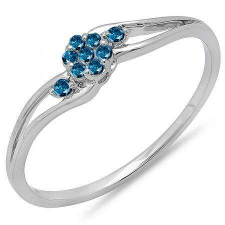 0.10 Carat (ctw) 10k White Gold Round Blue Diamond Ladies Bridal Swirl Split Shank Cluster Promise Ring 1/10 CT