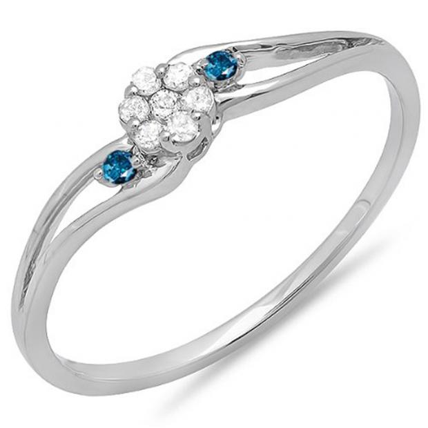 0.10 Carat (ctw) 18k White Gold Round White & Blue Diamond Ladies Bridal Swirl Split Shank Cluster Promise Ring 1/10 CT