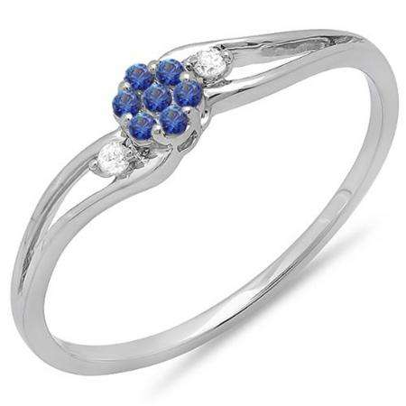 0.10 Carat (ctw) 10k White Gold Round White Diamond & Blue Sapphire Ladies Bridal Swirl Split Shank Cluster Promise Ring 1/10 CT
