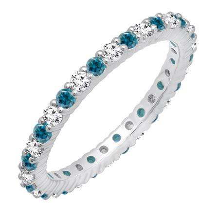 1.00 Carat (ctw) 14k White Gold Round Blue & White Diamond Ladies Eternity Anniversary Stackable Ring Wedding Band 1 CT