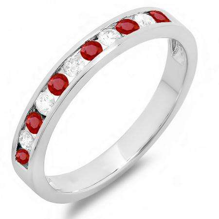 0.50 Carat (ctw) 10k White Gold Round Ruby And White Diamond Ladies Anniversary Wedding Stackable Ring Band 1/2 CT