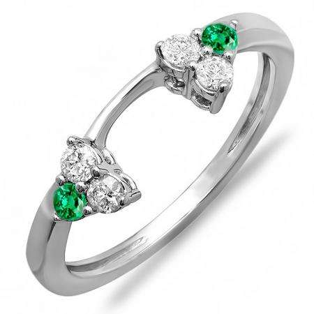 0.30 Carat (ctw) 14K White Gold Round Green Emerald And White Diamond Ladies Anniversary Wedding Ring Matching Guard Band 1/3 CT