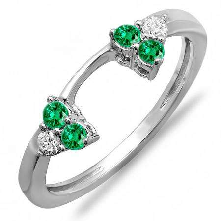 0.30 Carat (ctw) 18K White Gold Round Green Emerald And White Diamond Ladies Anniversary Wedding Ring Matching Guard Band 1/3 CT