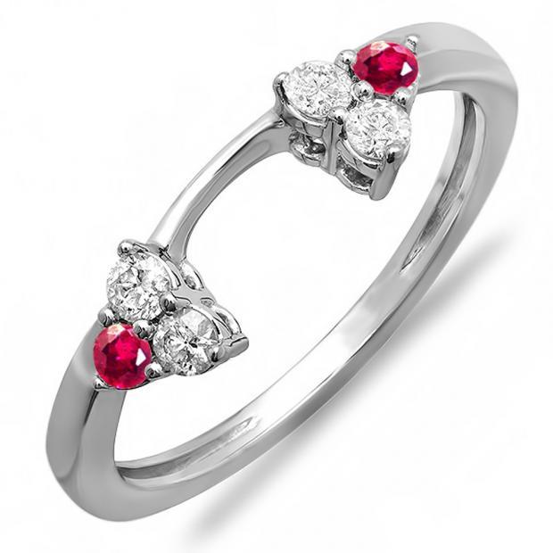 0.30 Carat (ctw) 14K White Gold Round Ruby And White Diamond Ladies Anniversary Wedding Ring Matching Guard Band 1/3 CT
