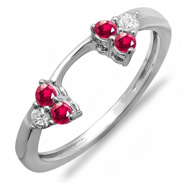 0.30 Carat (ctw) 10K White Gold Round Ruby And White Diamond Ladies Anniversary Wedding Ring Matching Guard Band 1/3 CT