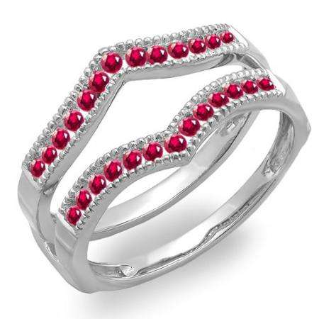 0.45 Carat (ctw) 18k White Gold Round Ruby Ladies Millgrain Anniversary Wedding Band Guard Double Ring 1/2 CT