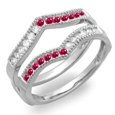 0.45 Carat (ctw) 18k White Gold Round Ruby & White Diamond Ladies Millgrain Anniversary Wedding Band Guard Double Ring 1/2 CT