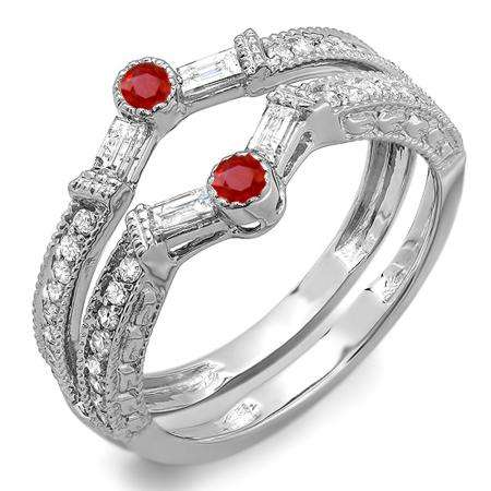 0.55 Carat (ctw) 18k White Gold Round & Baguette Ruby And White Diamond Ladies Anniversary Wedding Enhancer Guard Band 1/2 CT