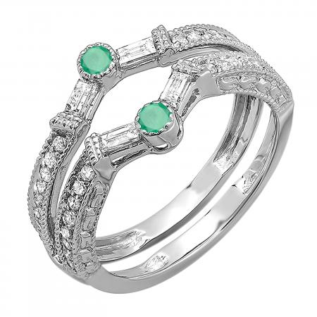 0.55 Carat (ctw) 18k White Gold Round & Baguette Green Emerald And White Diamond Ladies Anniversary Wedding Enhancer Guard Band 1/2 CT