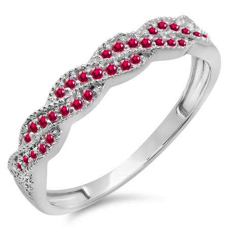 0.25 Carat (ctw) 10k White Gold Round Ruby Ladies Anniversary Wedding Stackable Band Swirl Ring 1/4 CT