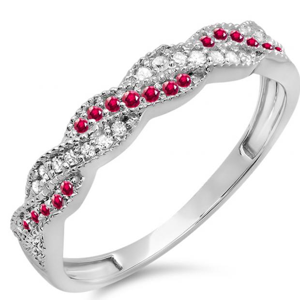 0.25 Carat (ctw) 10k White Gold Round Ruby & White Diamond Ladies Anniversary Wedding Stackable Band Swirl Ring 1/4 CT