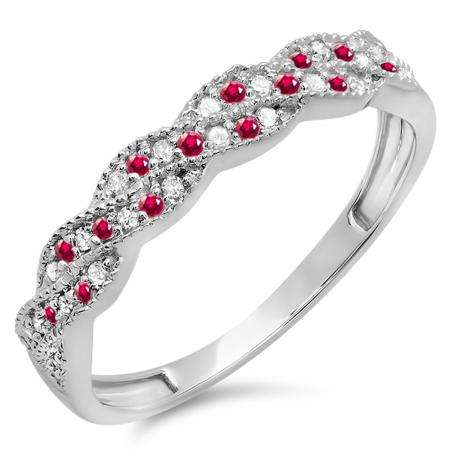 0.25 Carat (ctw) 10k White Gold Round Ruby & White Diamond Ladies Anniversary Wedding Stackable Band Swirl Ring 1/4 CT
