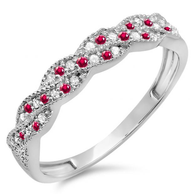 0.25 Carat (ctw) 18k White Gold Round Ruby & White Diamond Ladies Anniversary Wedding Stackable Band Swirl Ring 1/4 CT