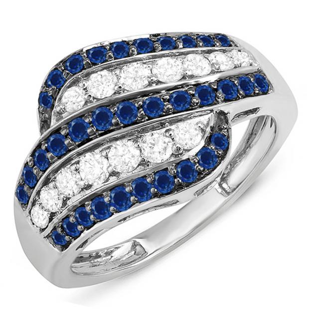 1.05 Carat (ctw) 10k White Gold Round Blue Sapphire & White Diamond Ladies Cocktail Right Hand 1 CT