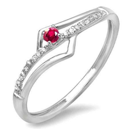 0.10 Carat (ctw) 10k White Gold Round Ruby And White Diamond Wave Ladies Bridal Promise Engagement Ring 1/5 CT