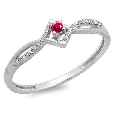 0.15 Carat (ctw) 10k White Gold Round Ruby And White Diamond Ladies Promise Engagement Ring