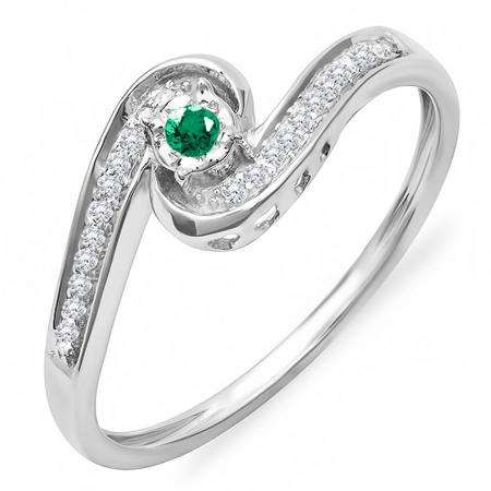 0.15 Carat (ctw) 18k White Gold Round Green Emerald And White Diamond Ladies Swirl Promise Engagement Ring