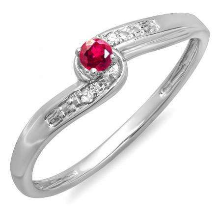 0.10 Carat (ctw) 10k White Gold Round Ruby And White Diamond Crossover Swirl Ladies Bridal Promise Engagement Ring 1/10 CT