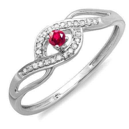 0.15 Carat (ctw) 10k White Gold Round Cut Ruby And White Diamond Ladies Engagement Bridal Promise Ring