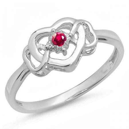 0.05 Carat (ctw) Sterling Silver Round Ruby Ladies Solitaire Promise Three Heart Infinity Love Engagement Ring