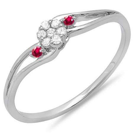 0.10 Carat (ctw) 18k White Gold Round Ruby And White Diamond Ladies Bridal Swirl Split Shank Cluster Promise Ring 1/10 CT