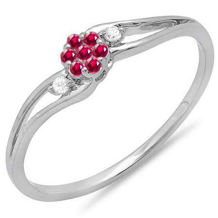 0.10 Carat (ctw) 10k White Gold Round Ruby And White Diamond Ladies Bridal Swirl Split Shank Cluster Promise Ring 1/10 CT