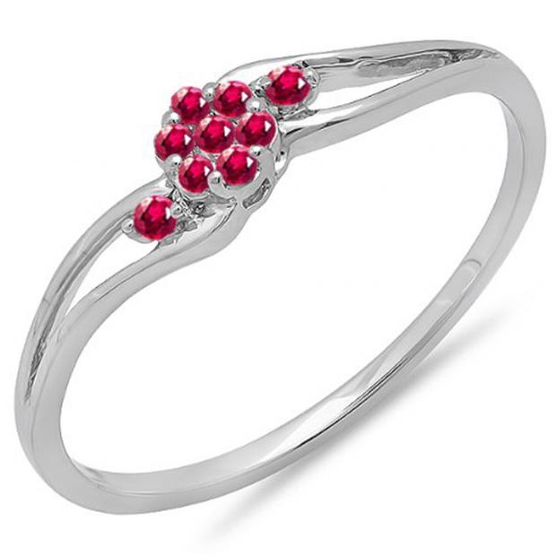 0.10 Carat (ctw) 18k White Gold Round Ruby Ladies Bridal Swirl Split Shank Cluster Promise Ring 1/10 CT