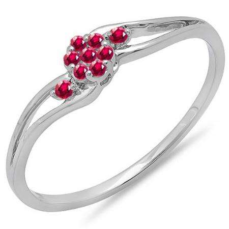 0.10 Carat (ctw) 10k White Gold Round Ruby Ladies Bridal Swirl Split Shank Cluster Promise Ring 1/10 CT