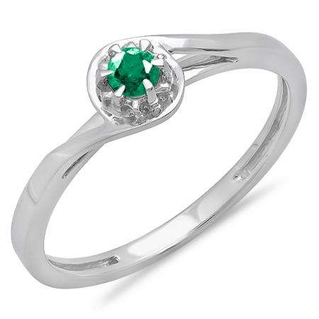 0.12 Carat (ctw) 18K White Gold Round Cut Green Emerald Ladies Twisted Style Solitaire Bridal Promise Ring