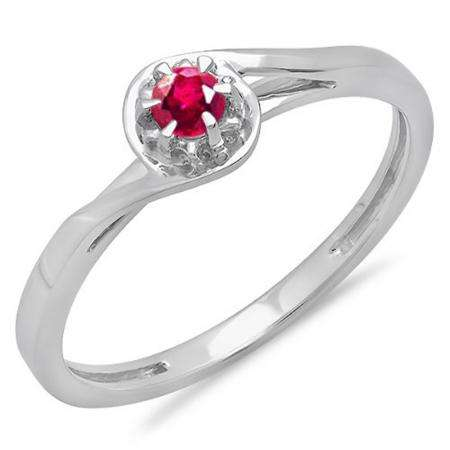 0.12 Carat (ctw) 18K White Gold Round Cut Ruby Ladies Twisted Style Solitaire Bridal Promise Ring