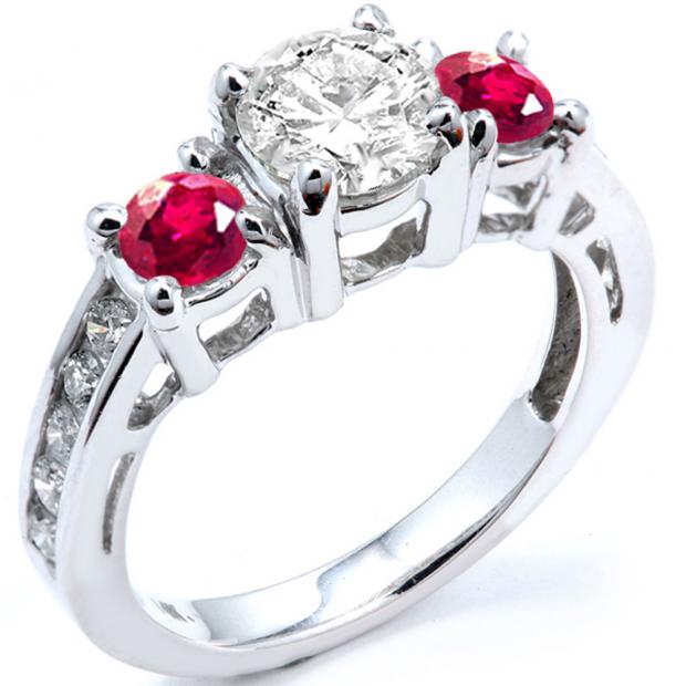 2.55 Carat (ctw) 18k White Gold Round Red Ruby And White Diamond Ladies Bridal Engagement Ring 2 1/2 CT