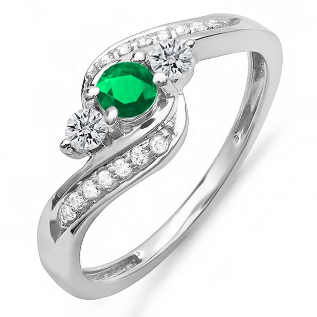 1.00 Carat (ctw) 10k White Gold Round Green Emerald And White Diamond Ladies Swirl Engagement 3 Stone Bridal Ring 1 CT