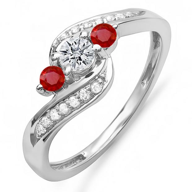 1.00 Carat (ctw) 10k White Gold Round Red Ruby And White Diamond Ladies Swirl Engagement 3 Stone Bridal Ring 1 CT