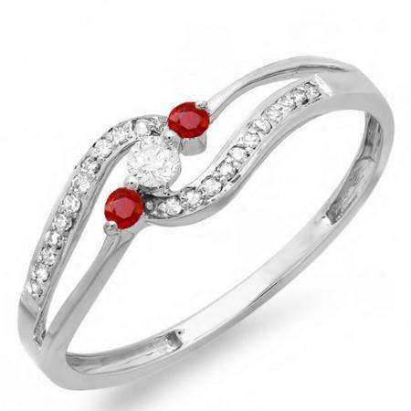 0.20 Carat (ctw) 10k White Gold Round Ruby And White Diamond Ladies 3 stone Engagement Promise Ring 1/5 CT