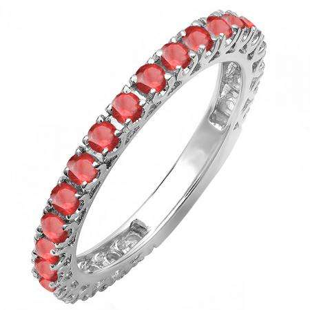 1.10 Carat (ctw) 14K White Gold Round Ruby Eternity Sizeable Stackable Ring Anniversary Wedding Band 1 CT