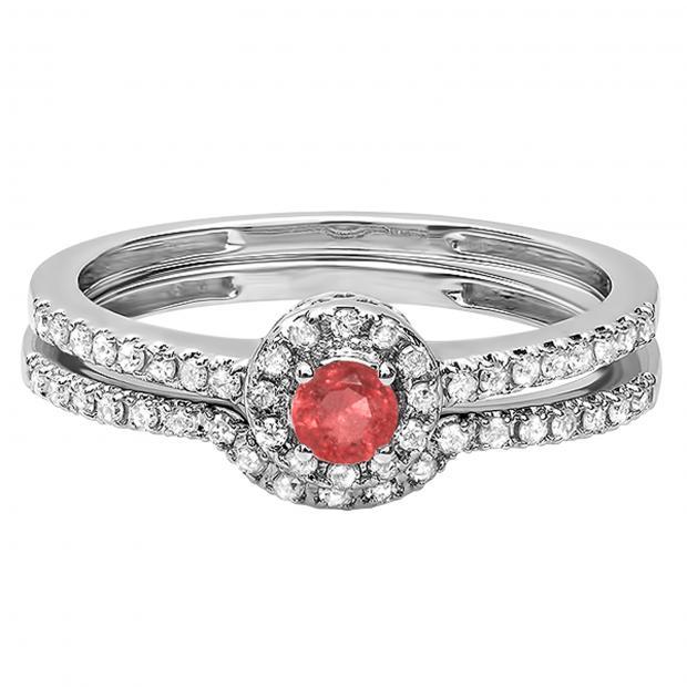 0.45 Carat (ctw) 10k White Gold Round Ruby And White Diamond Ladies Halo Style Bridal Engagement Ring Matching Band Set 1/2 CT