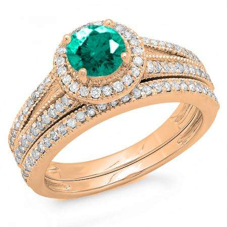 1.25 Carat (ctw) 14k Rose Gold Round Green Emerald And White Diamond Ladies Split Shank Halo Style Bridal Engagement Ring Set With Matching Band 1 1/4 CT