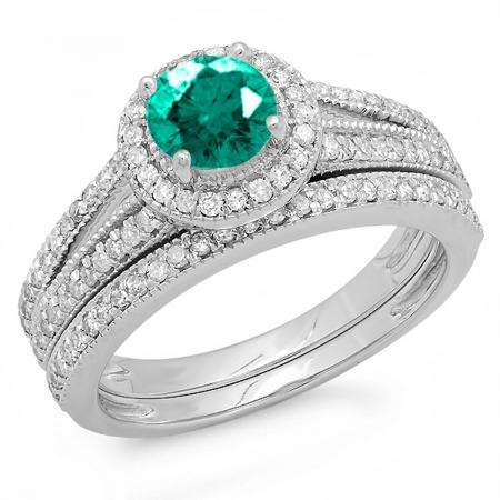 1.25 Carat (ctw) 18k White Gold Round Green Emerald And White Diamond Ladies Split Shank Halo Style Bridal Engagement Ring Set With Matching Band 1 1/4 CT