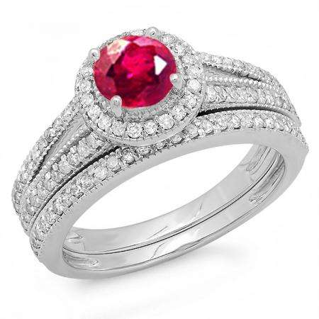 1.25 Carat (ctw) 14k White Gold Round Ruby And White Diamond Ladies Split Shank Halo Style Bridal Engagement Ring Set With Matching Band 1 1/4 CT