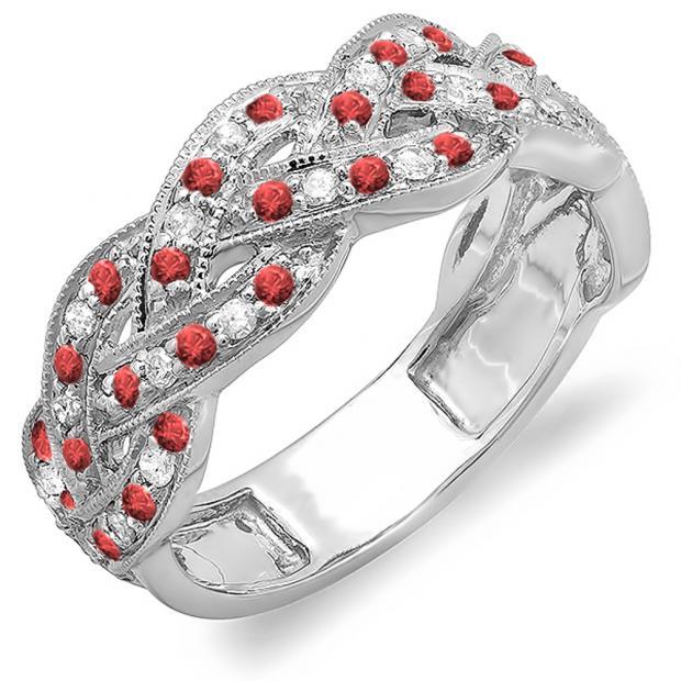 0.58 Carat (ctw) 18k White Gold Round White Diamond & Ruby Ladies Anniversary Wedding Matching Band Stackable Swirl Ring 1/2 CT