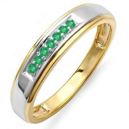 0.12 Carat (ctw) 18K Yellow Gold Plated Sterling Silver Round Green Emerald Men