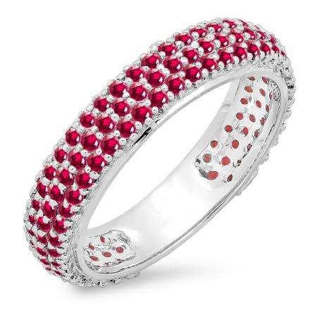 1.30 Carat (ctw) 18K White Gold Round Ruby Ladies Pave Set Anniversary Wedding Eternity Ring Band 1 1/3 CT